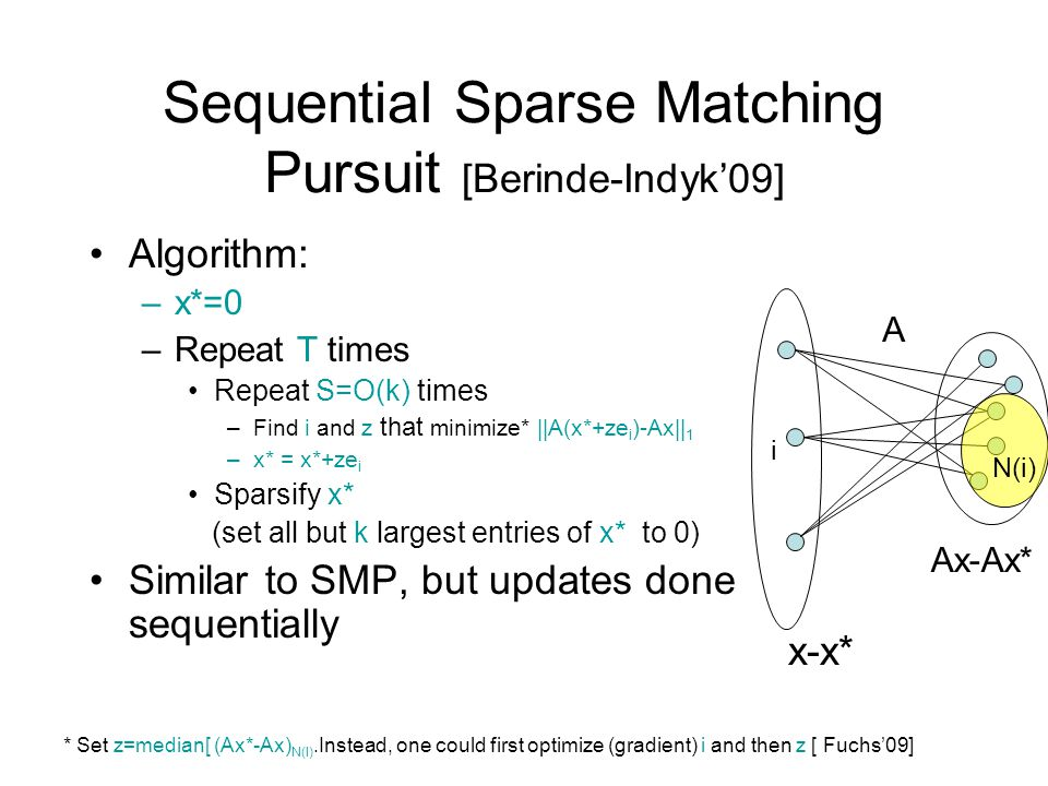 Sequential Sparse Matching Pursuit [Berinde-Indyk'09]